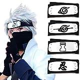 Atenia Cosplay Headband, Costume Anti Leaf Village Ninja Headband Kakashi Cosplay (4 PCS Leaf Village)