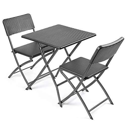 CHRISTOW Rattan Effect Garden Furniture Set Folding Bistro Patio Table 2 Chairs