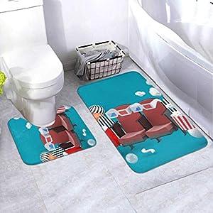 Badematten-Set Kinostuhl Erfrischungsgetränke Popcorn Unter 2-teiligem Bereich Teppich-Set Enthält Toilette Oval U-förmig konturierte Matte und Bad Teppiche, Bad Teppiche für Badezimmer Waschbar rut