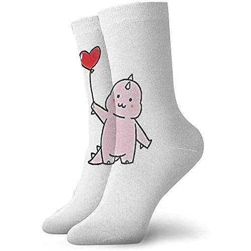 Kevin-Shop schattig roze baby dinosaurus houden rode ballon zachte ademende hoge enkel casual sokken dikker onder knie bemanning sokken