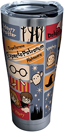 Tervis 1293208 Harry Potter-Charms Tiles Insulated Tumbler with Clear and Black Hammer Lid, 30 oz Stainless Steel, Silver