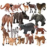 16pcs Safari Animals Baby Figures Wildlife Creatures Figurines Baby Animals African Jungle Zoo Miniature Toys Cake Toppers Birthday Gift for Kids