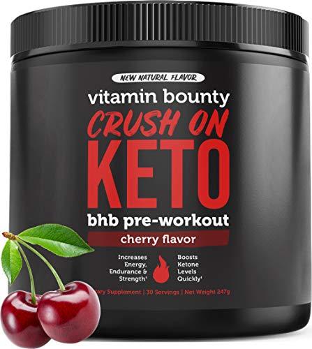 Crush On Keto - Exogenous Ketone Keto BHB Pre Workout Powder Drink - 0g Sugar, 0g Carbs (Natural Cherry Flavor)