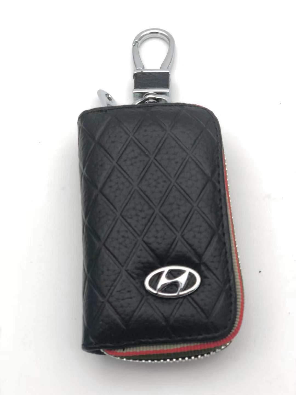 VILLSION Car Key Holder Genuine PU Leather Key Fob Case fit for Jaguar with Stainless Steel Hook Metal Zipper Keychain Black