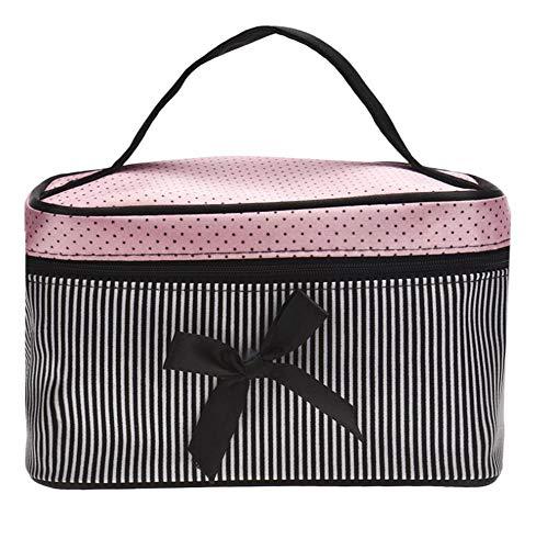 Yhhzw Bolsa De Mujer Bolsa De Cosméticos De Rayas con Lazo Cuadrado Ropa Interior De Lencería Grande Bolsas De Puntos Bolsa De Viaje Kits De Aseo Tamaño 19 × 12 × 12Cm