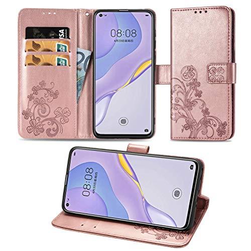 COTDINFORCA Etui für Huawei Honor 9X Lite Hülle PU Leder Cover Schutzhülle Magnet Tasche Flip Handytasche im Bookstyle Kartenfächer Handyhülle für Huawei Honor 9X Lite Clover Rose Gold SD