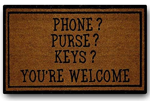 Grappige telefoon portemonnee sleutels je bent welkom deurmat latex niet-geweven rug rubber welkom deurmat Patio Office Thuis binnen Outdoor Decor 45x75cm