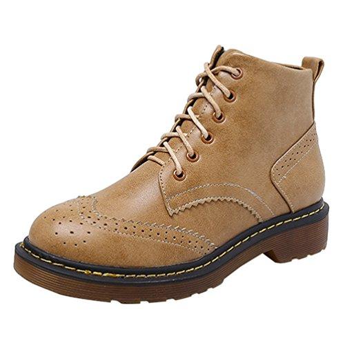 Anguang Damen Worker Boots Warm Stiefeletten Outdoor Schuhe Winterschuhe Übergrößen Also 1 43