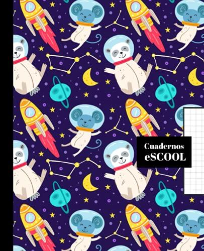 CUADERNO ESCOLAR: Cuaderno de hoja cuadriculada de 4 mm   Cuadrícula 4x4   Tamaño especial para la mochila   Portada de ositos y ratones en el espacio.