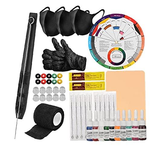 Tattoo-Set, Tattoo Pen Ink Cup 1 RL Needles Set, Anself Hand Poke-Stick Inklusive Bandagen für Anfänger