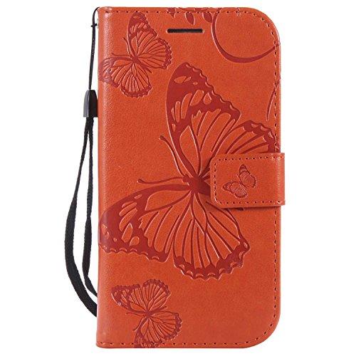DENDICO Hülle für Galaxy S3, PU Leder Flip Brieftasche Handyhülle Schutzhülle mit Standfunktion & Kartenfach für Samsung Galaxy S3 - Orange