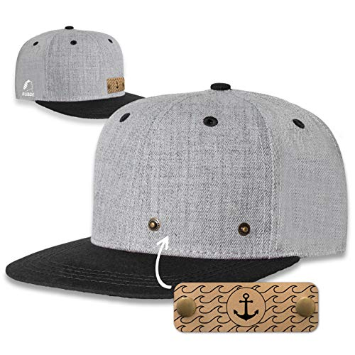 RUBDE Snapback Cap mit wechselbaren Anker-Patch Herren Damen Unisex Schwarz M