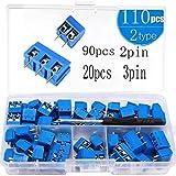 RUNCCI-YUN 100 Pezzi 5mm 2 Pin / 3 Pin Morsettiera a Vite PCB Blu per Prototipo PCB Scheda Circuito Stampato (90pz 2 Pin, 20pz 3 Pin)