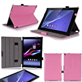 Housse Cuir Style luxe Ultra Slim tablette Sony Xperia Z2 Tablet 16 Go/32 Go (Wifi/ 3G/LTE/4G) rose...