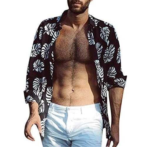 catmoew Hawaiihemd Herren Drucken Lässig Button Down Strandurlaub Hemd Aloha Kurzarm Hawaii Hemd