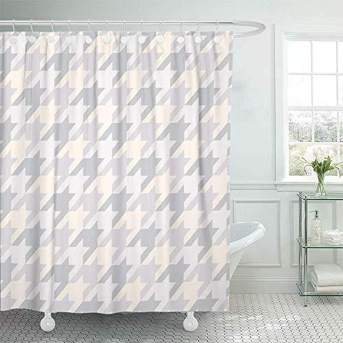 Luancrop Duschvorhang wasserdicht grau Musterdesign mit Hahnentritt klassischen Mosaik Karierten geometrischen abstrakten H& Home Decor Polyester Stoff verstellbaren Haken Set