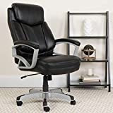 Flash Furniture HERCULES Series Big & Tall 500 lb. Rated Black LeatherSoft Executive Swivel Ergonomic Office Chair with Arms, BIFMA Certified