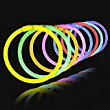 Lumistick 8 Inch 100 Glow Sticks Bulk Party Favors with Connectors | Light Sticks Neon Party Glow...