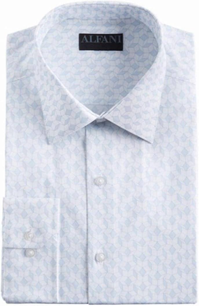 Alfani Mens Dress Shirt White Blue Size 17-17 1/2 Regular Fit Cube