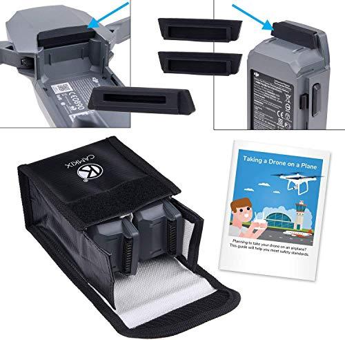 Camkix Pack Sicurezza Viaggio Compatible con DJI Mavic Pro Platinum - Per 2 Batterie - Include: Borsa di Sicurezza LiPo, 2x Cover Porta Batteria, 1x Cover Porta di Ricarica e Istruzioni di Viaggio