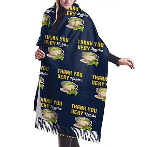 Thank You Very Matcha Tea Cup Pixel Art Ladies Soft Large Cashmere Blend Scarf Warm Cashmere Skirt Elegant Shawl Wrap