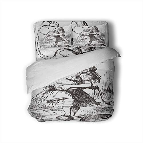 trying to play croquet with flamingo and hedgehog - 's Adventures in Wonderland original colorful engraving.The chief difficulty found at first was managing her flamingo...,Duvet Cover Set Home Hotel