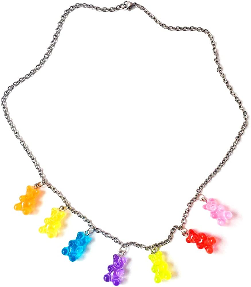 7 Pcs Gummy Bear Necklace Colorful Resin Cute Bear Pendant Necklace Transparent Rainbow Candy Color Bear Chain Necklaces Accessories for Women Girl Daily Jewelry Party Gifts - 1 PCE with 7 Bears