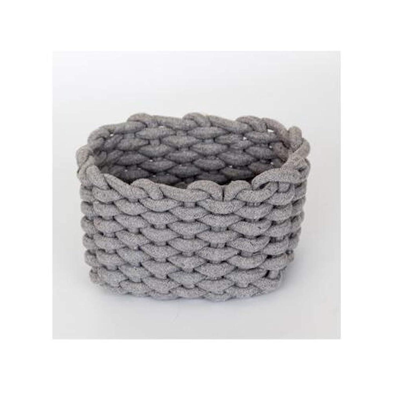 心配廃棄する差別的QYSZYG 手編みの綿のロープの収納ボックスシンプルな収納バスケットのスナックキーのデスクトップデブリバスケット 収納バスケット (色 : Gray, サイズ さいず : 13cm*21cm*14cm)