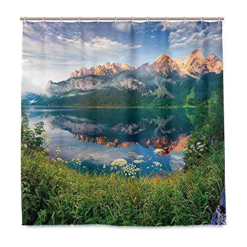 JOOCAR Cortina de ducha de diseño, Sunny Summer Morning on the Lake Alpes austriacos con espejo de cristal de la temporada de hadas, tela impermeable para decoración de baño con ganchos