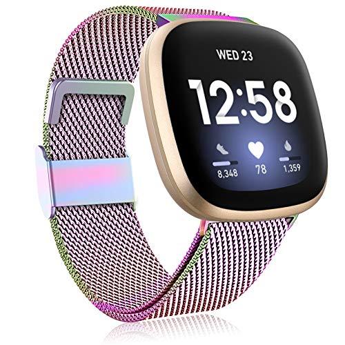 Funbiz Metall Armband Kompatibel mit Fitbit Versa 3 Armband/Fitbit Sense Armband, Edelstahl Metall Ersatzarmband mit Einstellbarer Größe für Frauen Männer, Klein Bunt