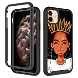 GUGU6JI iPhone 11 Case, African American Afro Girls Women Design Shockproof Rugged Dual Layer Cover Soft TPU + Hard PC Bumper Full-Body Protective Case for iPhone 11 (6.1 inch) Queen Girls