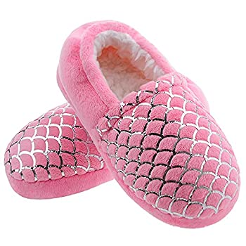 MIXIN Girl s Slippers Warm Plush Mermaid No-Slip Memory Foam Slippers with Hard Rubber Sole House Shoes Little Girls Bedroom Indoor Outdoor Big Kid Size 3 Pink