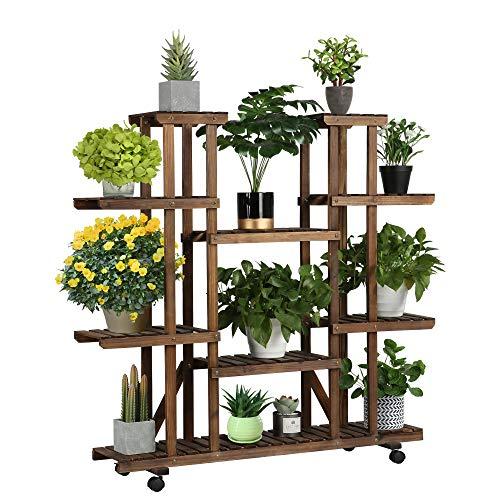 Yaheetech Estanteria Madera para Plantas Grande Soporte para Flores Interior con Ruedas Estante Decorativa de Macetas 124x33x120cm