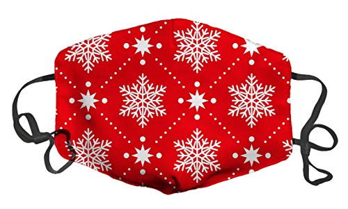 LuxSweet Classic Red White Snowflakes Christmas Pattern Fashion Face Decorative Reusable Comfortable Adjustable Windproof for Women Men Unisex
