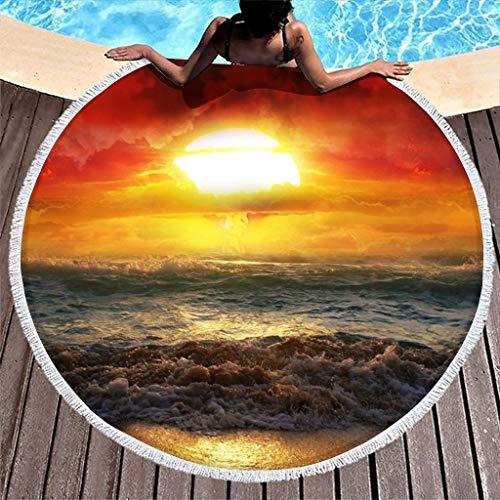 MINNOMO Toalla redonda de playa océano con diseño de puesta de sol, con borlas, estilo hippy, color blanco, 150 cm