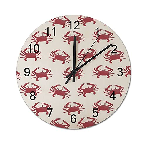 Reloj de Pared Digital Redondo,Náuticas Marítima temáticas cangrejos li,Decoración casera rústica silenciosa Que no Hace tictac con Pilas de Madera para la Sala de Estar de 10 Pulgadas