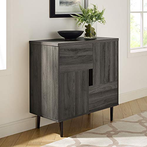 Walker Edison Furniture Company Modern Color Pop Buffet Accent Entryway Bar Cabinet Storage Entry Table Living Dining Room, 30 Inch, Slate Grey, Red Interior