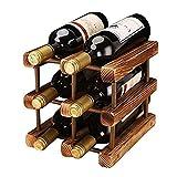 ASDF Portabottiglie Vino in Legno Naturale, 3 Livelli Portabottiglie Tradizionale per 6 Bottiglie Vino, Molto Facile Montare