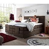 Lomadox® Boxspringbett Hotelbett Doppelbett in Mocca, Komfort Topper, 180x200 cm, H3/H4, elektrisch verstellbar, Taschenfederkern-Matratze