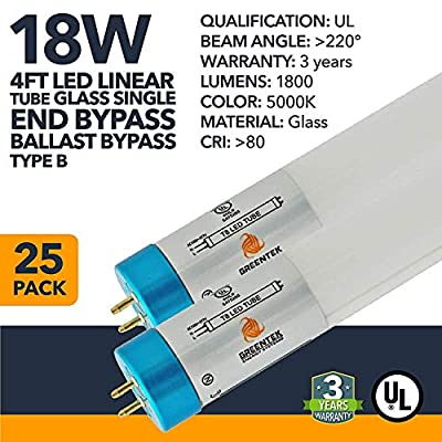 4ft 18W T8 Glass LED Linear Tube - 1800 Lumens, Single End Bypass, 5 Year Warranty IP20 Rated - Frosted - (UL Listed) - 25 Pack