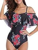 UMIPUBO Bañador de mujer con volantes, sexy y elegante para el hombro, bikini, moda tankini de una pieza, diseño floral, disfraz de playa para verano Cartamo XL