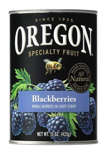 Oregon Fruit Products, Canned Fruits, Blackberries in Light Syrup, 15oz (Pack of 3)