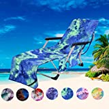 JVJQ Pool Chair Cover with Side Pockets,Microfiber Chaise Lounge Chair Towel Cover for Sun Lounger Pool Sunbathing Garden Beach Hotel,Easy to Carry Around,No Sliding,Tie-Dye Green(82.5' x 29.5')