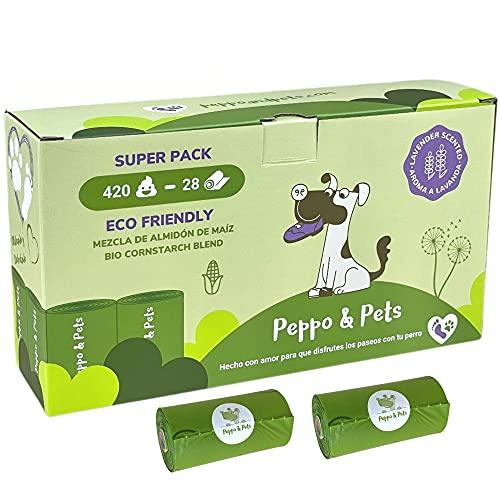 Peppo and Pets- 420 Bolsas caca perro- Mezcla de almidón de maíz- Aroma a lavanda- Muy resistentes- 15 bolsas en cada rollo