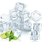 Qiuttnqn 50 Pcs 20MM Reusable Plastic Ice Cubes,Clear Acrylic Fake Ice Cubes,Artificial Square Crystal Fake Ice Cubes for Photography Props Home Decoration Wedding Centerpiece Vase Fillers