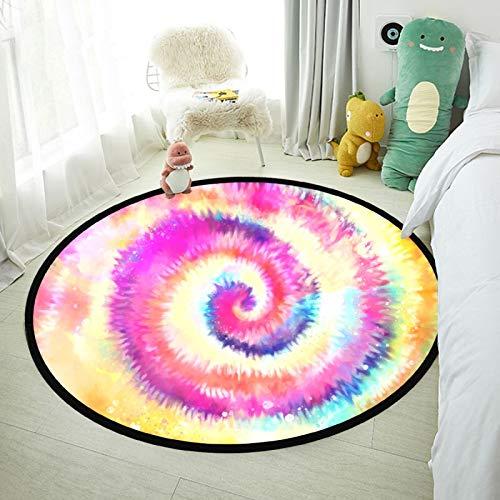 Alfombra redonda para bebé, suave, circular, para dormitorio, colorido, lanuda, para sala de estar, alfombra y alfombra para cuarto de bebé, decoración del hogar para niñas y niños