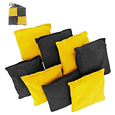 Play Platoon Premium Weather Resistant Duck Cloth Cornhole Bags - Set of 8 Bean Bags for Corn Hole Game - 4 Yellow & 4 Black
