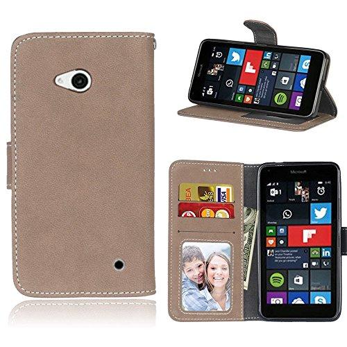 pinlu Hohe Qualität Retro Scrub PU Leder Etui Schutzhülle Für Microsoft Lumia 640 Dual-SIM Lederhülle Flip Cover Brieftasche Mit Stand Function Innenschlitzen Design Beige