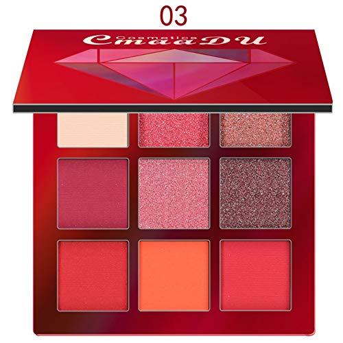 Lidschatten Palette, 9 Farben Matt Diamond Shiny Highlighter Eyeshadow Make-up Pallet (Rot)