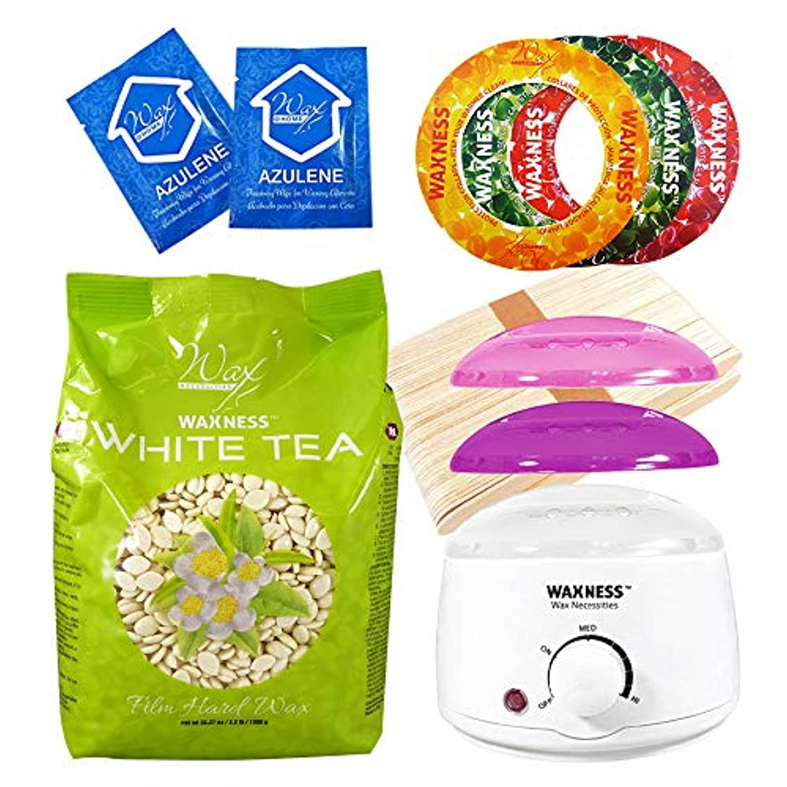 Wax Necessities Waxness White Tea Cream Stripless Waxing Kit with 35.27 oz / 1 kg Wax Bag